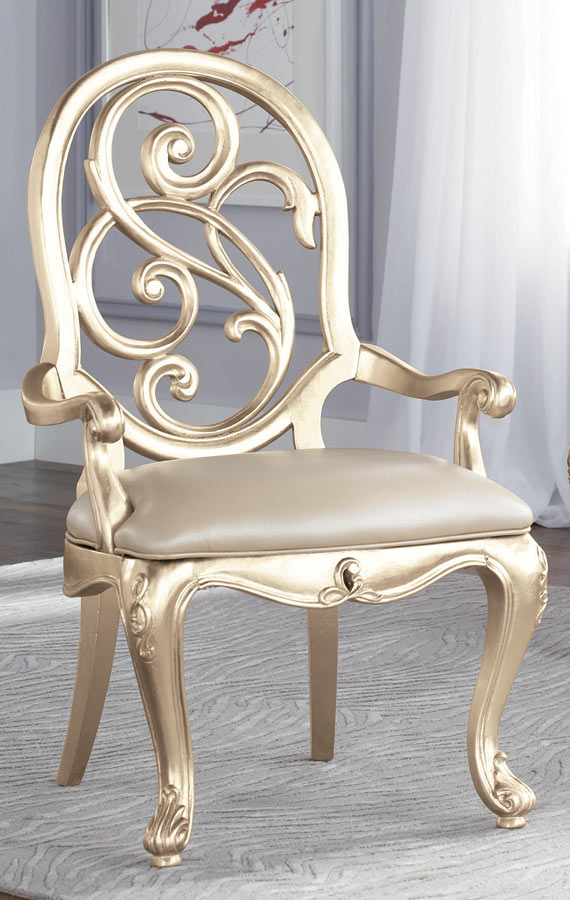 American Drew Jessica McClintock Couture Silver Splat Back Arm Chair