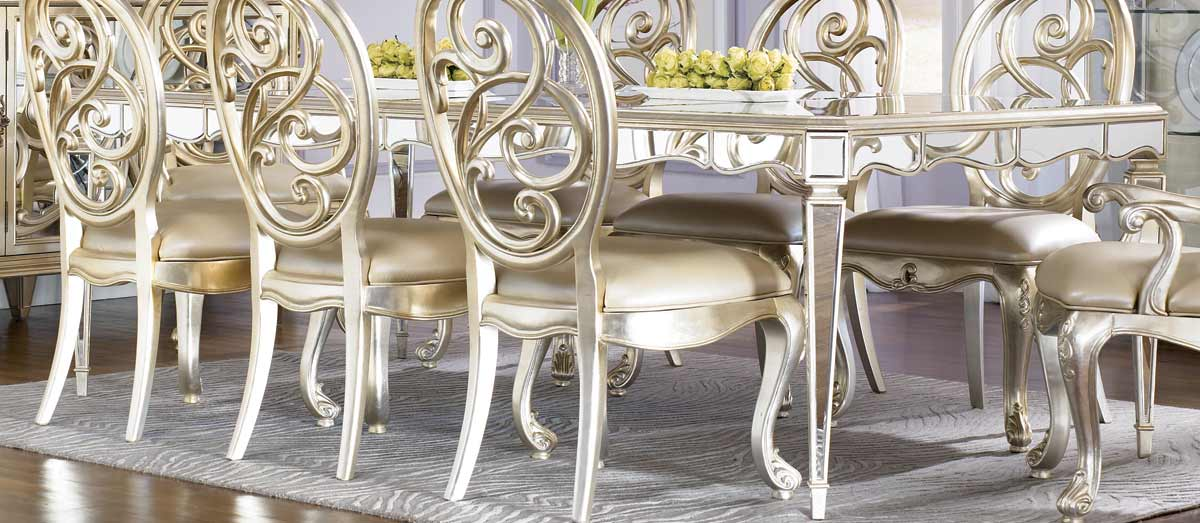 American Drew Jessica McClintock Couture Silver Leaf Antique Mirror Leg Dining Table