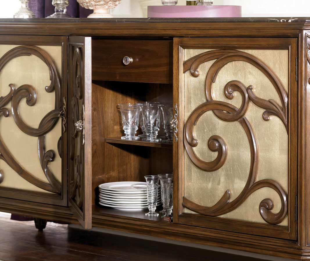 American Drew Jessica McClintock Couture Server Buffet with Stone Top