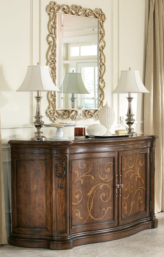 American Drew Jessica McClintock Couture Credenza with Maple Veneer Marquetry