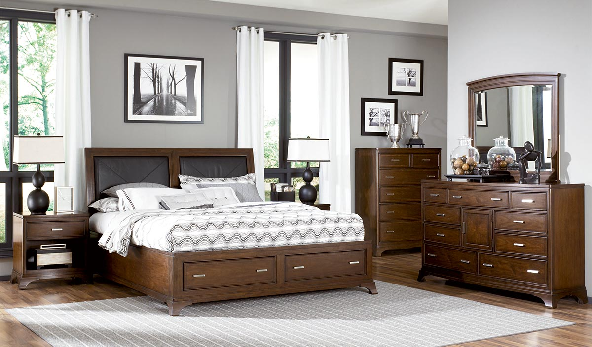 American Drew Essex Leather Accent Bed With Storage Footboard Set
