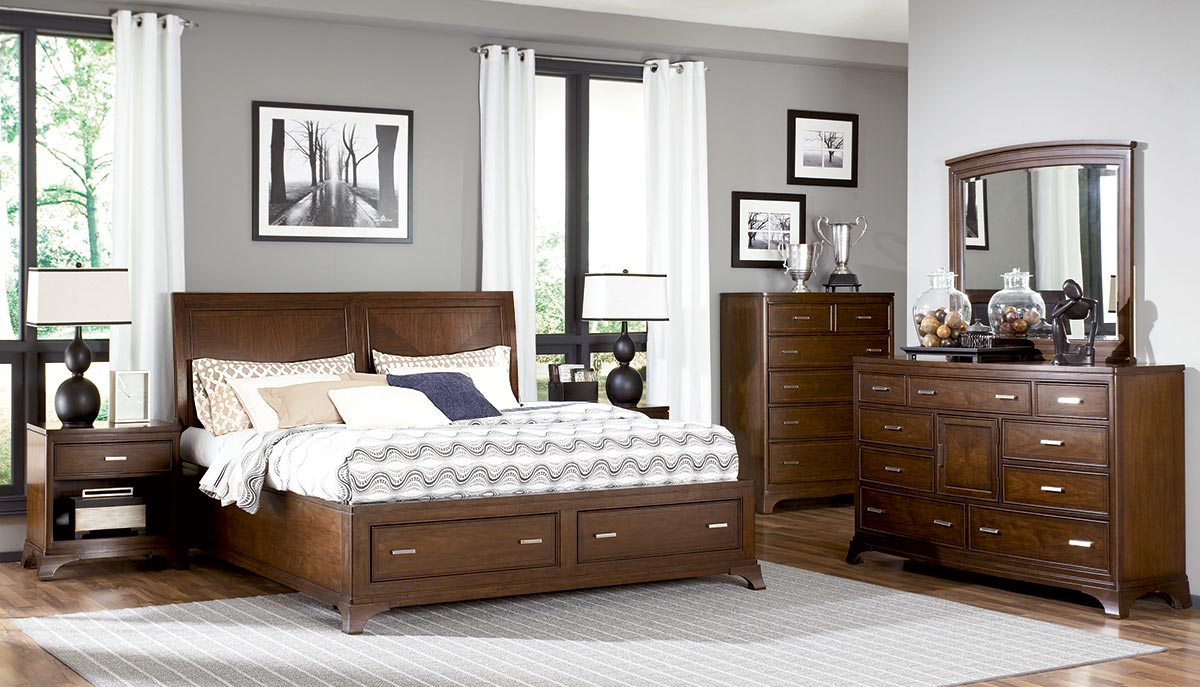 American Drew Essex Low Profile Sleigh Bed With Storage Footboard Set