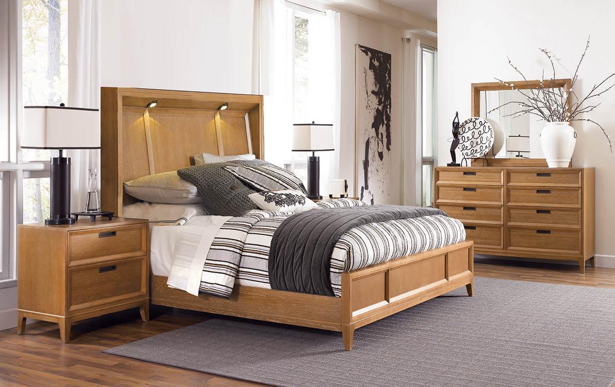 American Drew Sedona Lighted Panel Bedroom Set