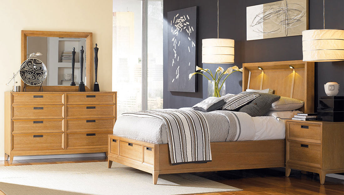 American Drew Sedona Lighted Storage Bedroom Set