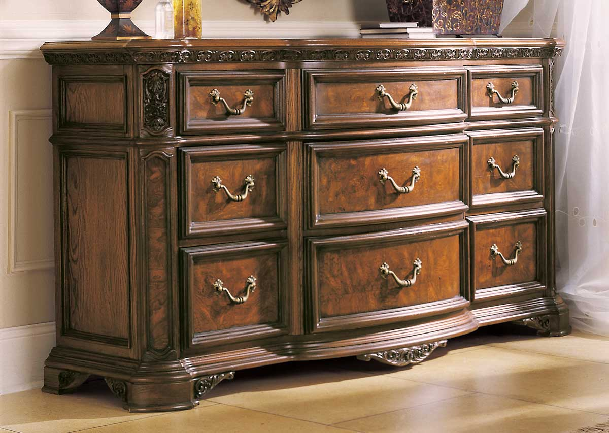 American Drew Grand Revival Dark Dresser Wood Top