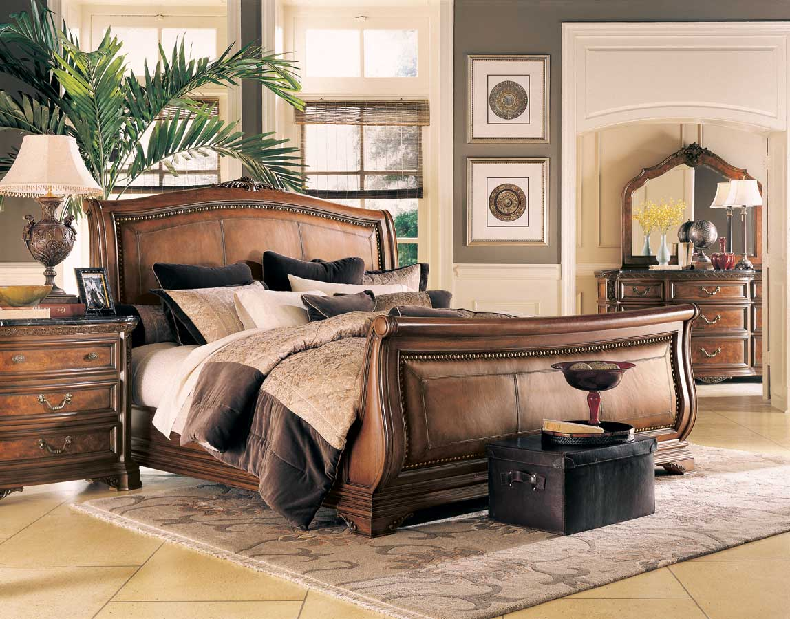 American Drew Grand Revival Dark Leather Sleigh Bed