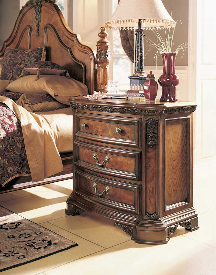 American Drew Grand Revival Dark Night Stand with Wood Top