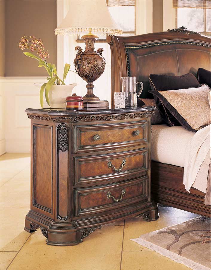 American Drew Grand Revival Dark Night Stand with Marble Veneer Top