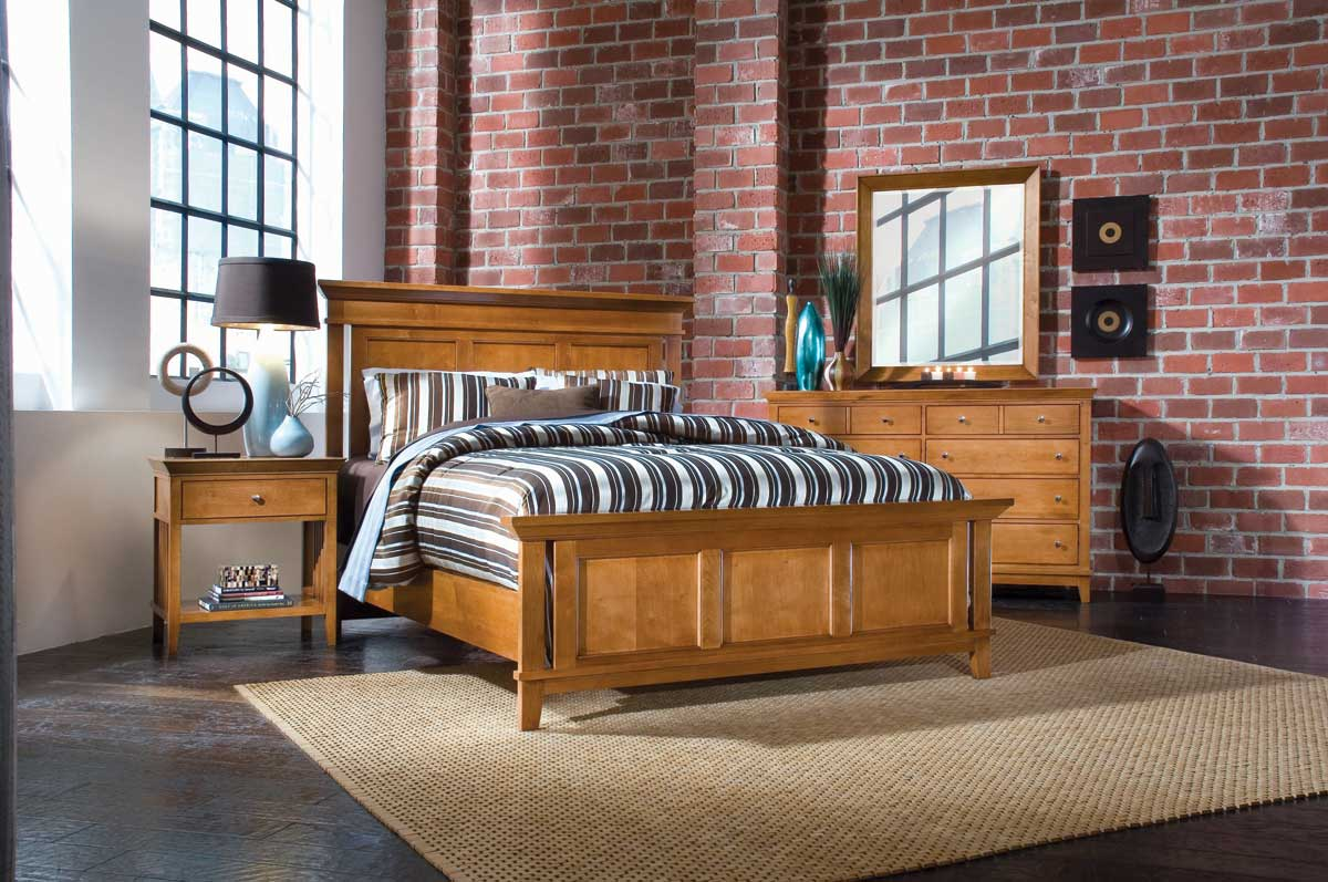 American Drew Sterling Pointe Panel Bed Collection Maple