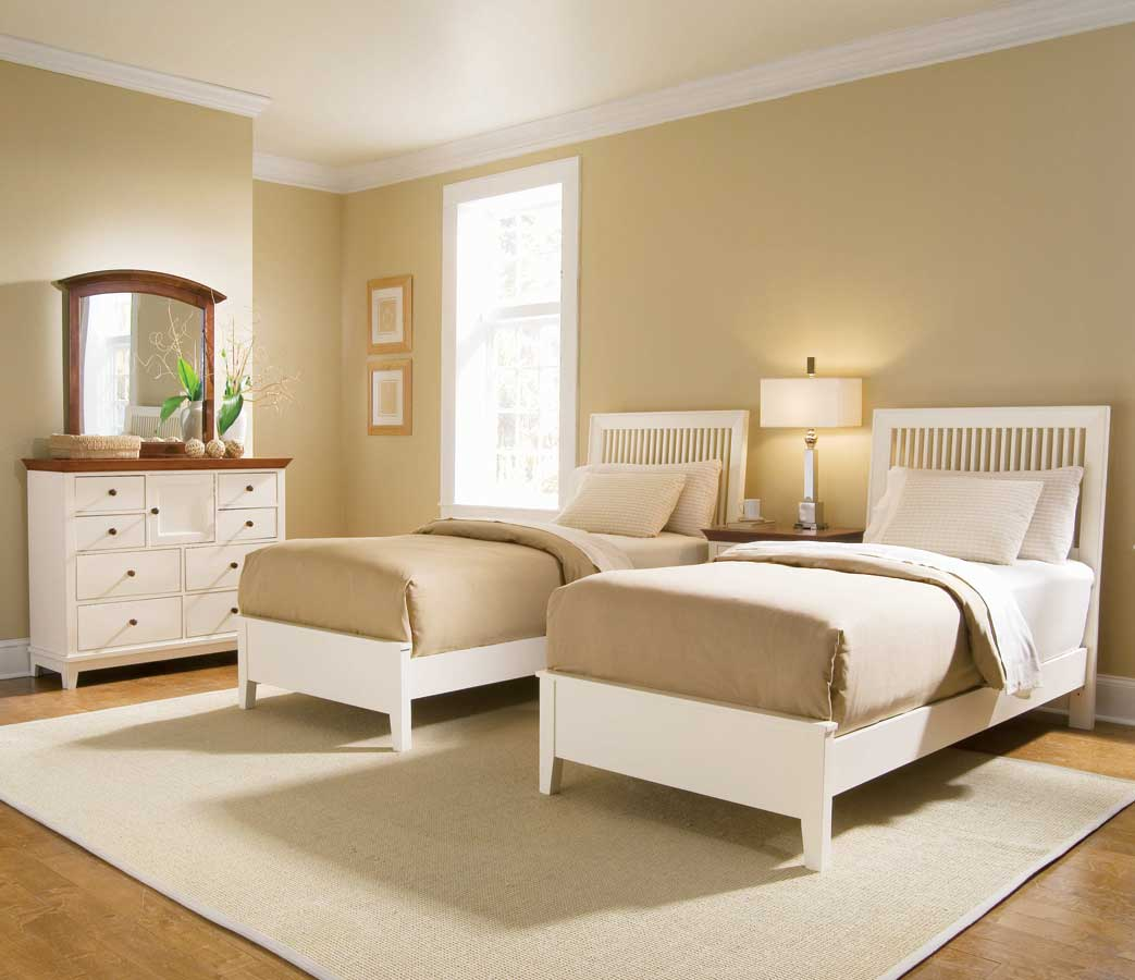 American Drew Sterling Pointe Slat Bed Collection White
