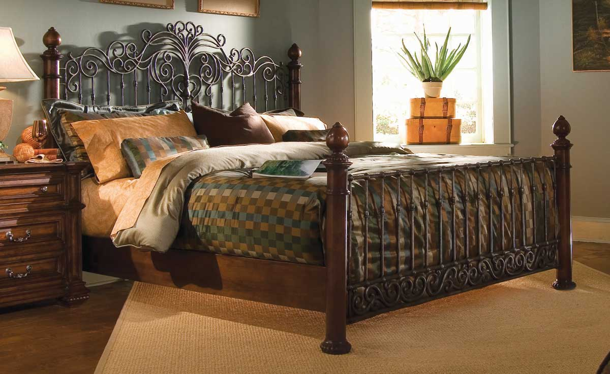 American Drew Marbella Metal Wood Bed