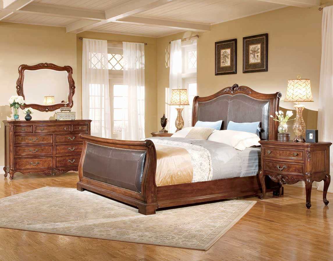 American Drew Bordeaux Bi-Cast Leather Sleigh Bedroom Collection