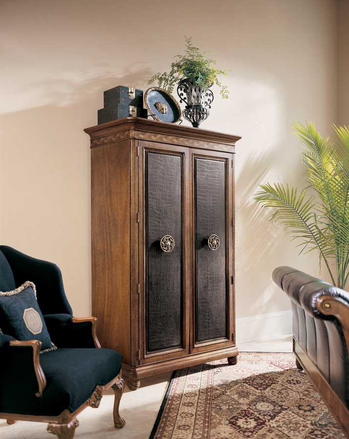 American Drew Bob Mackie Home Classics Armoire with Leather Door