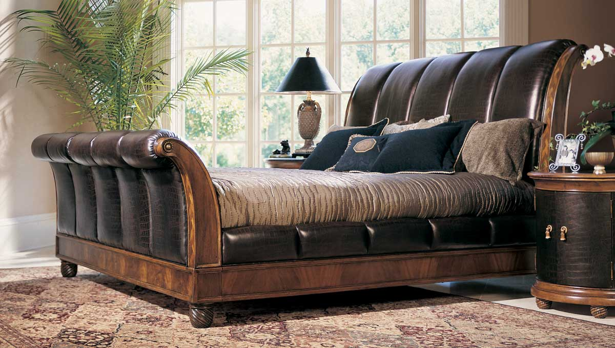 American Drew Bob Mackie Home Classics Sleigh Bed with Crocodile Embossed Leather