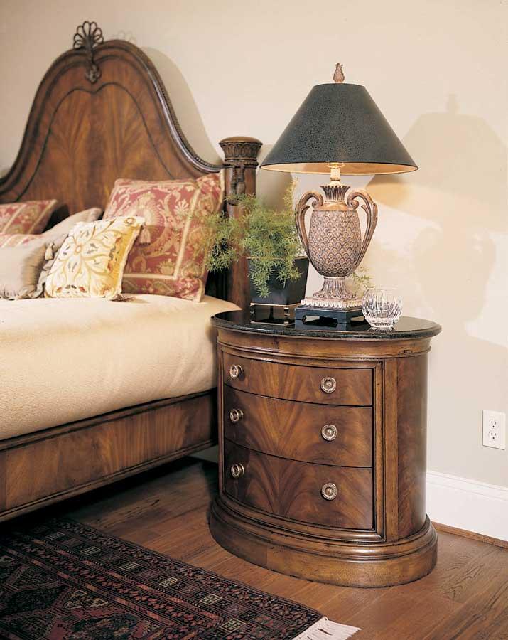 American Drew Bob Mackie Home Classics Oval Night Stand Black Granite Top