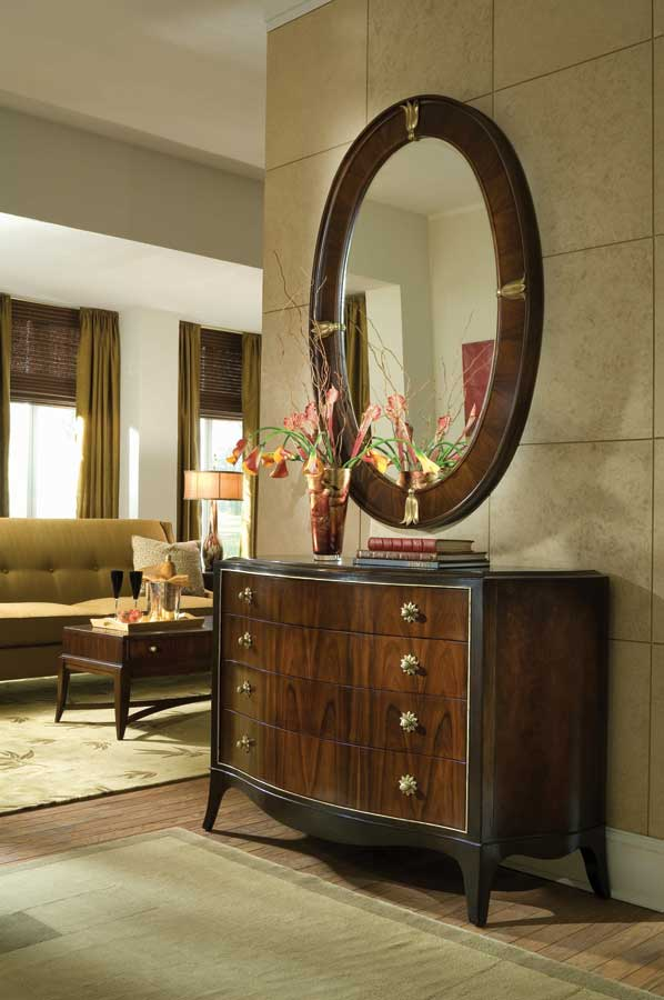 American Drew Bob Mackie Home Signature Oval Wood Mirror