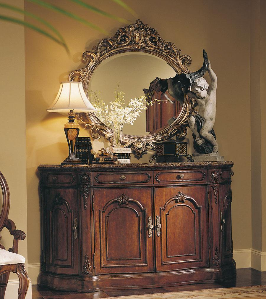 American Drew Jessica McClintock Home Credenza Dark Emperador Marble Neveer  Top