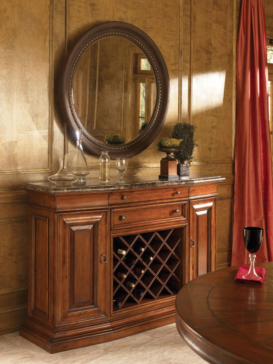 American Drew European Traditions Round Leather Mirror