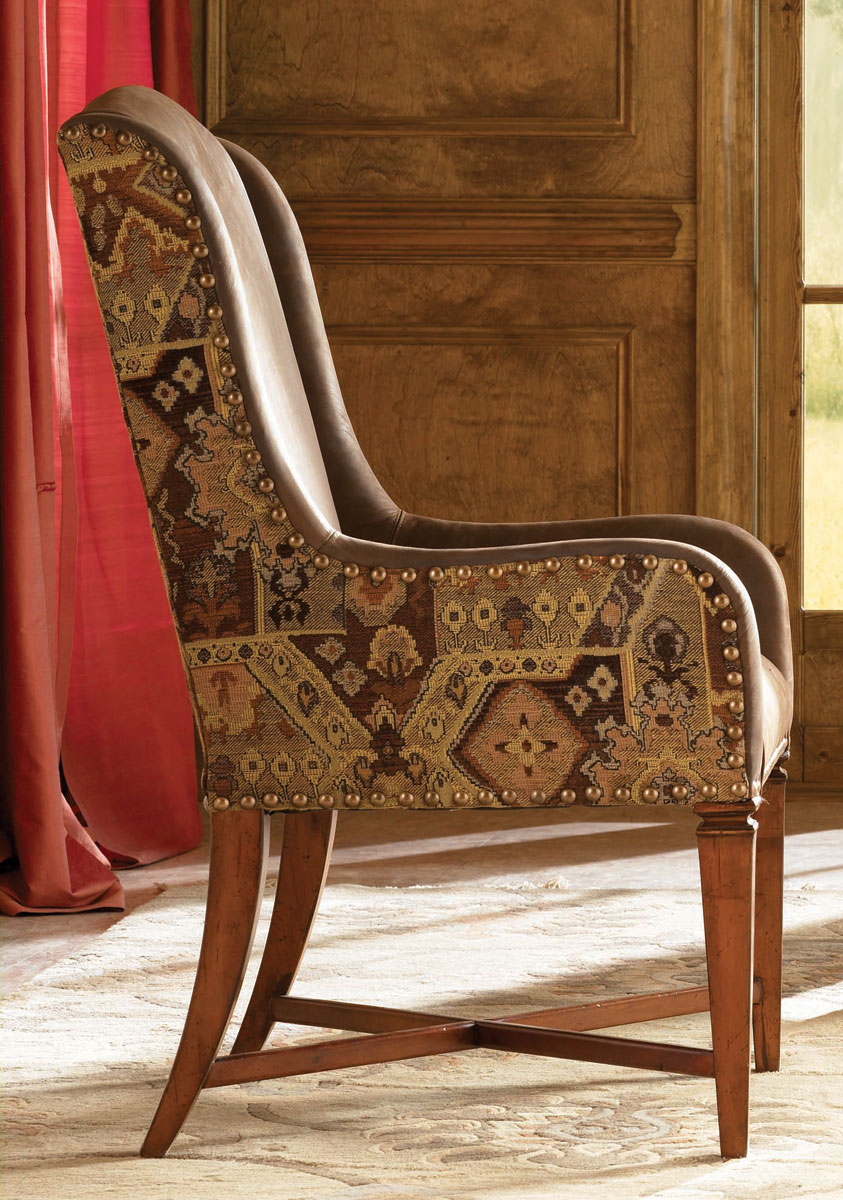 American Drew European Traditions Leather And Fabric Arm Chair