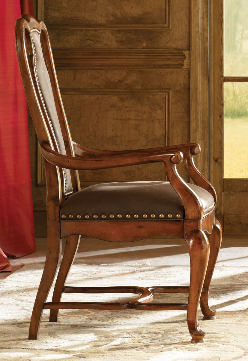 American drew european traditions leather splat arm chair for Leather dining room chairs with arms