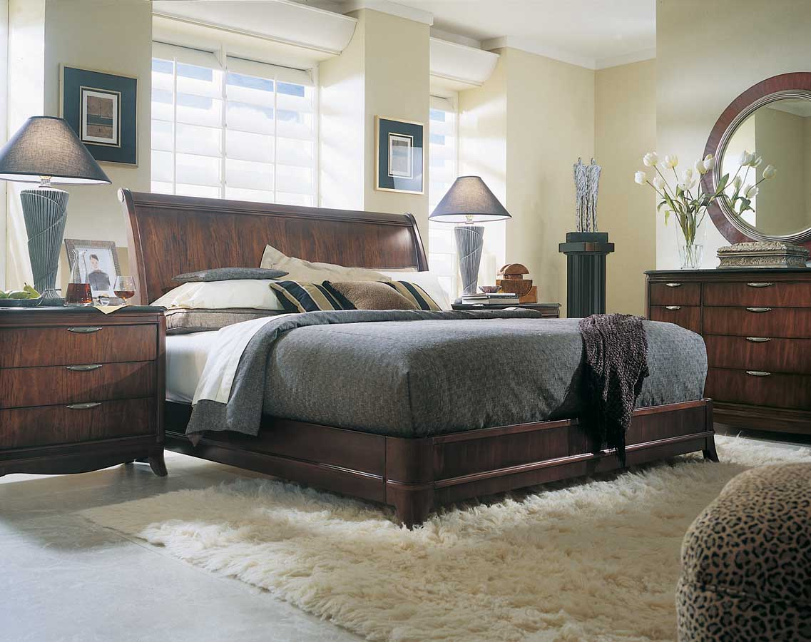 American Drew Advocate Sleigh Bed Low Profile