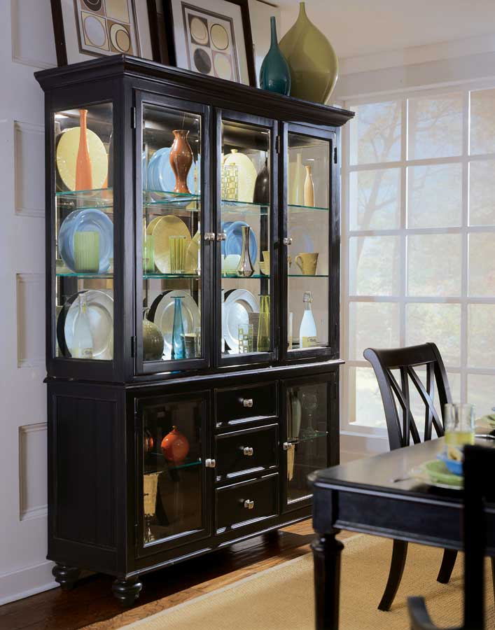 China cabinet in rustic black finish w five glass front for Black front room furniture