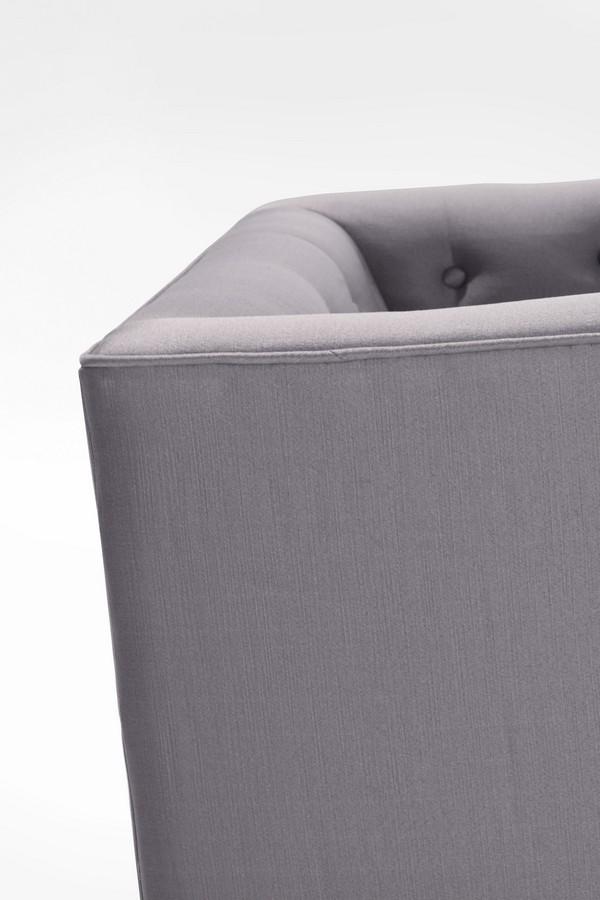 Armen Living Noho Arm Chair Silver Sat-inch Fabric