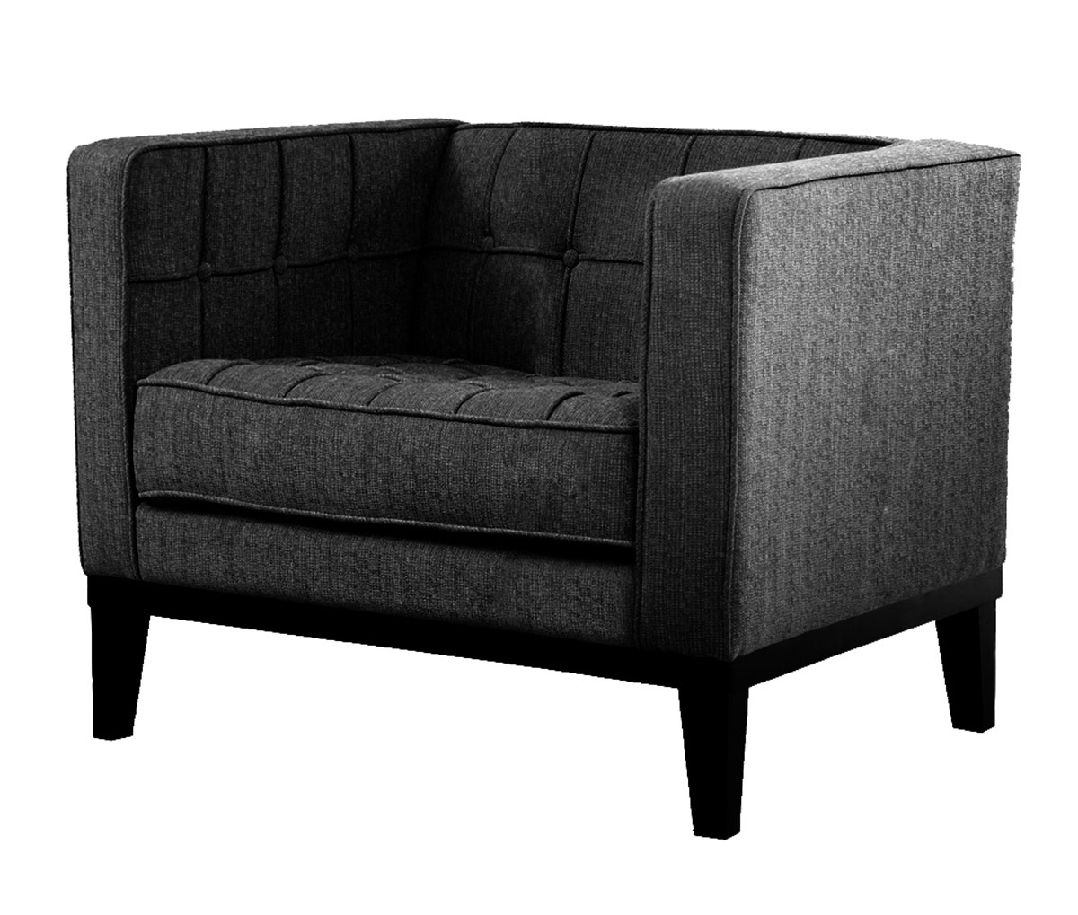 Armen Living Roxbury Arm Chair - Charcoal Fabric