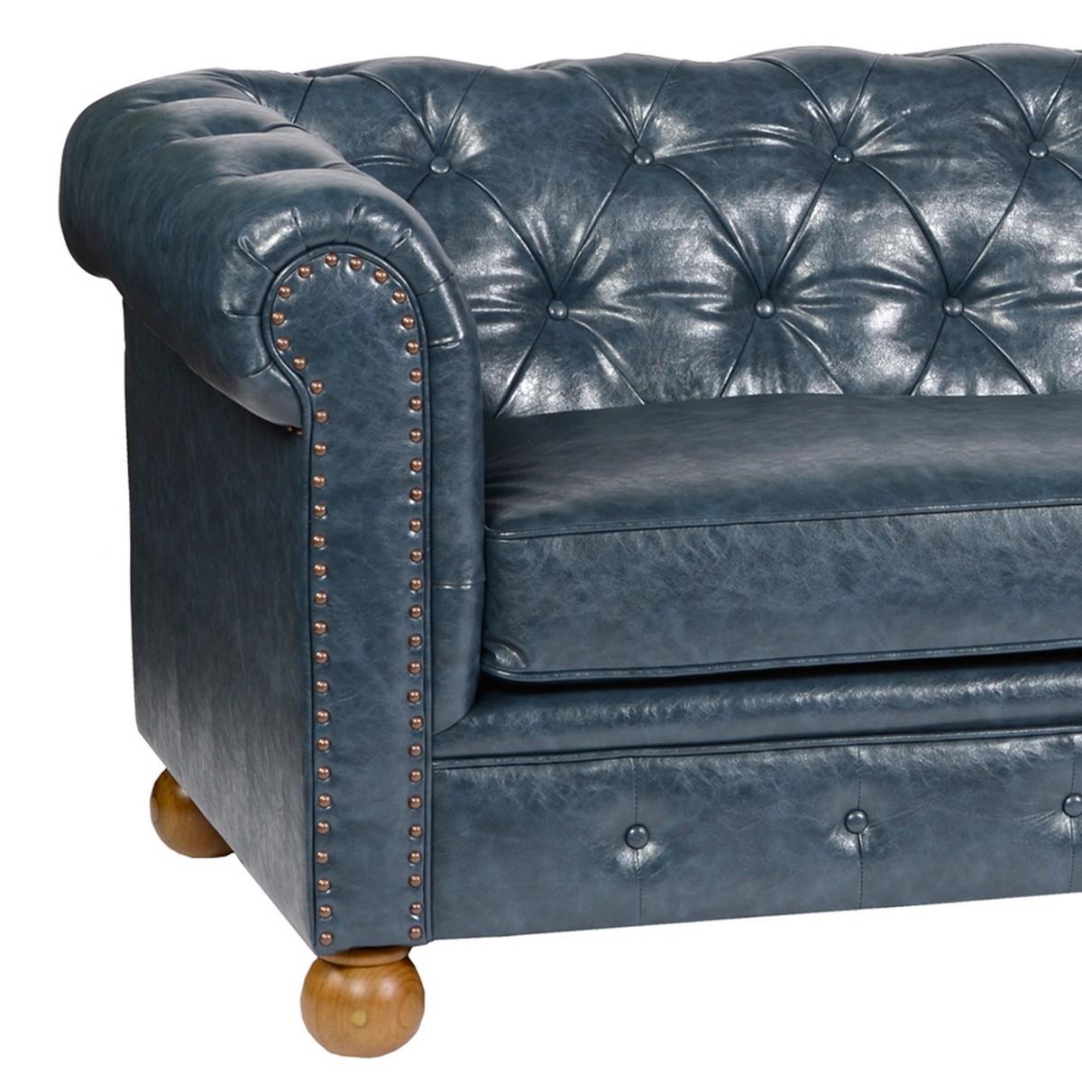 Armen Living Winston Antique Blue Bonded Leather Sofa