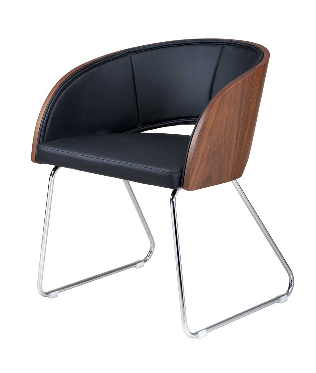 Armen Living Kappa Modern Club Chair - Walnut