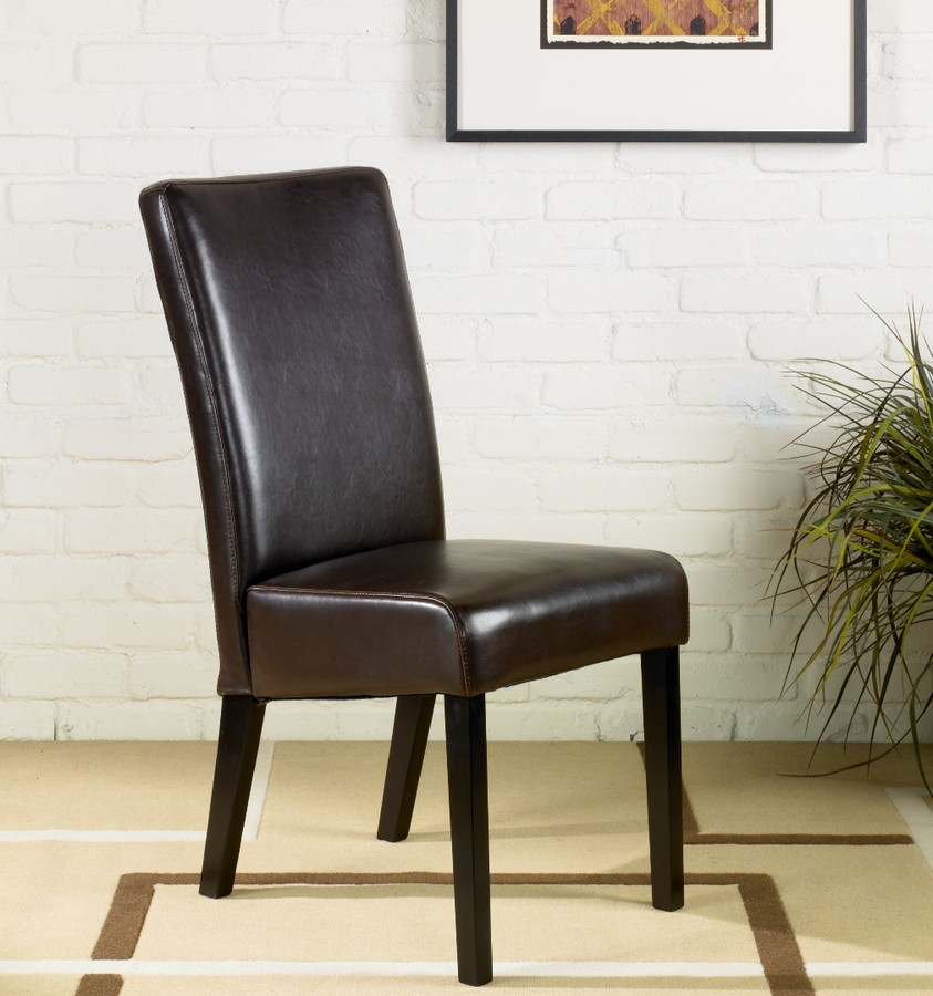 Armen Living Brown Leather Side Chair