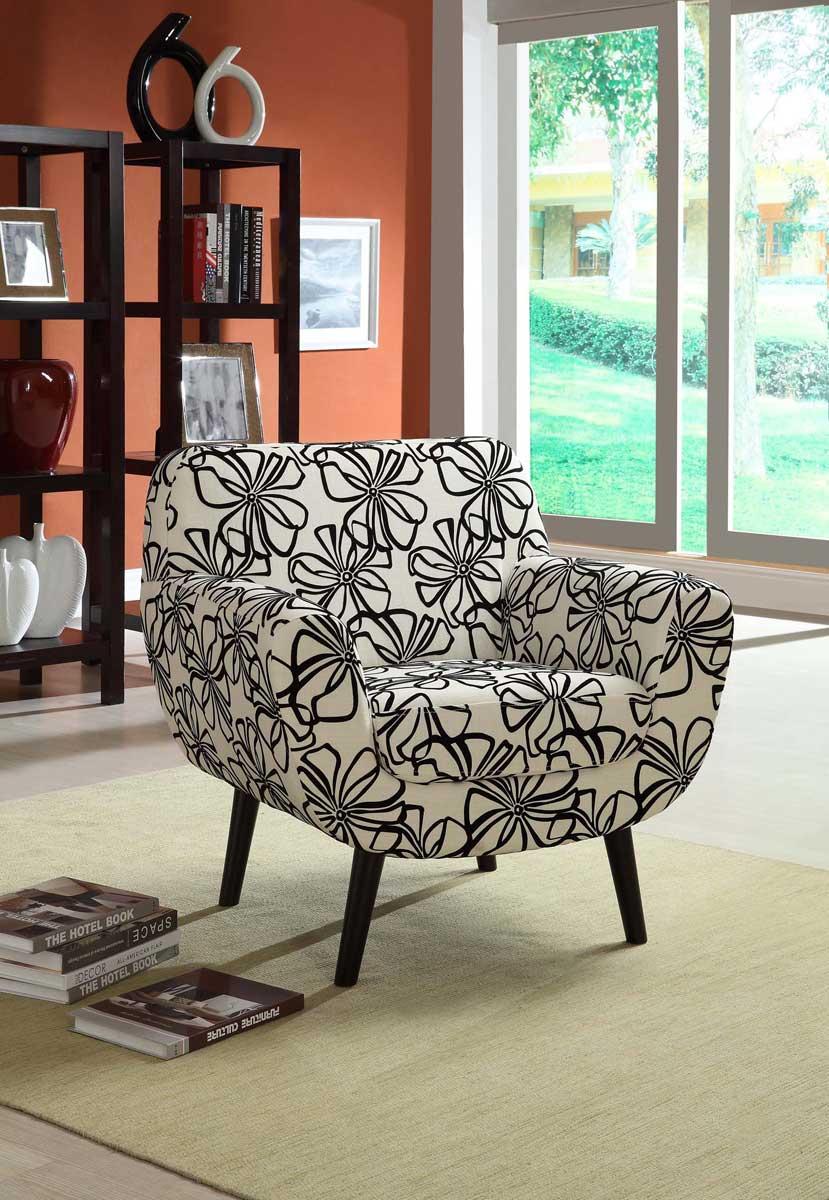 Armen Living Jetson Club Chair - Black/White