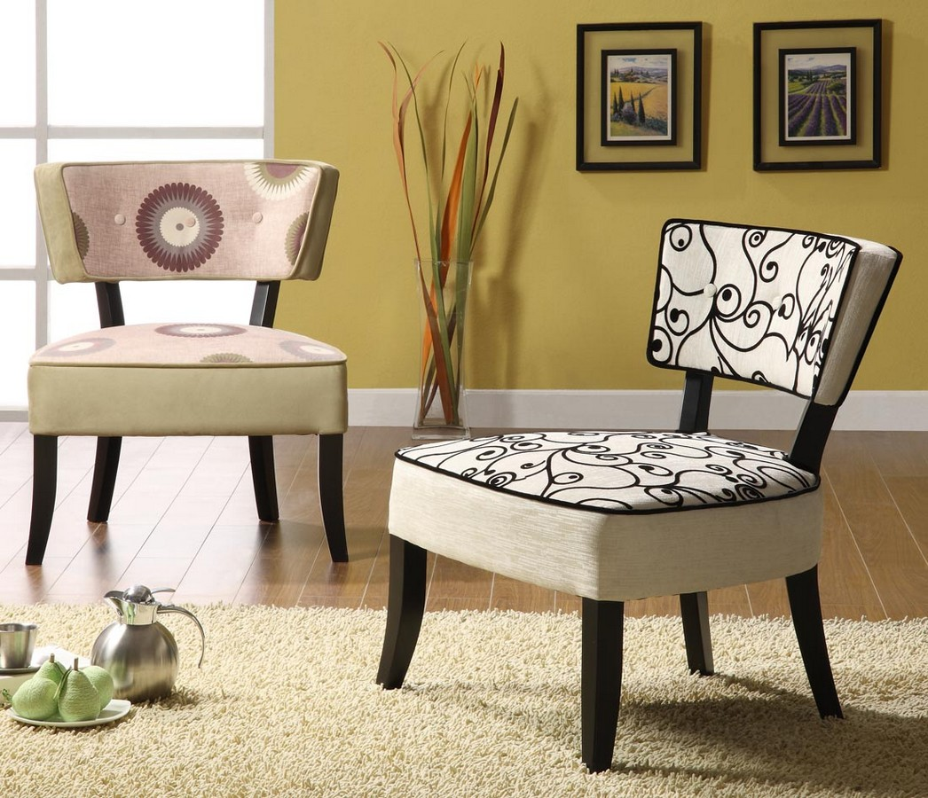 Armen Living Ashbury Club Chair In A Black and White Fabric Design