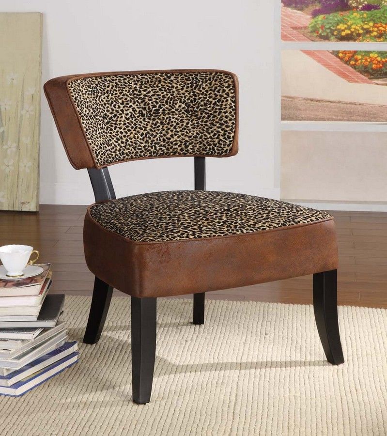 Armen Living Ashbury Club Chair In A Wrangler - Leopard Print Covered Fabric