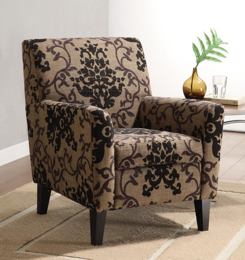 Armen Living Fiesta Club Chair In A Brown Medallion Design Fabric