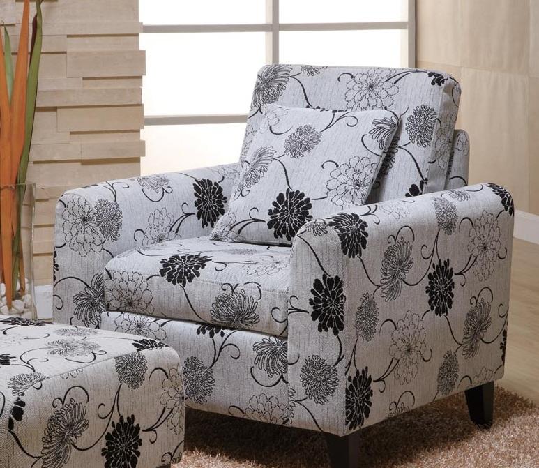 Armen Living Marietta Black and White Floral PilloBack Club Chair