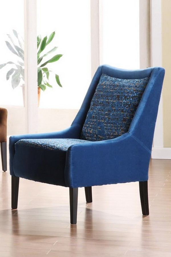 Armen Living Mardi Gras Blue Patterned Club Chair