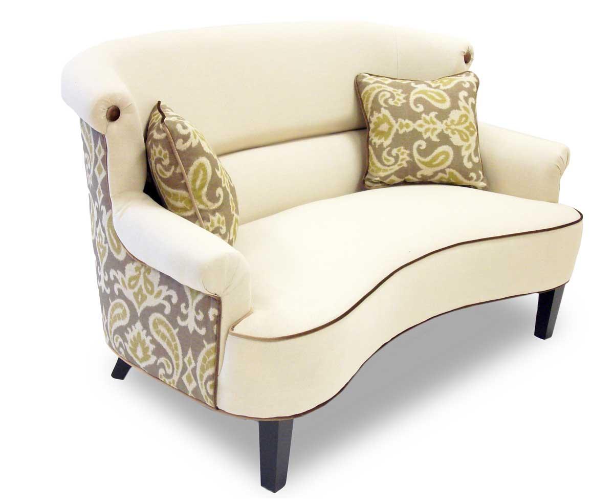 Armen Living Deerfield Ikat Fabric Sofa Set - Green and Cream