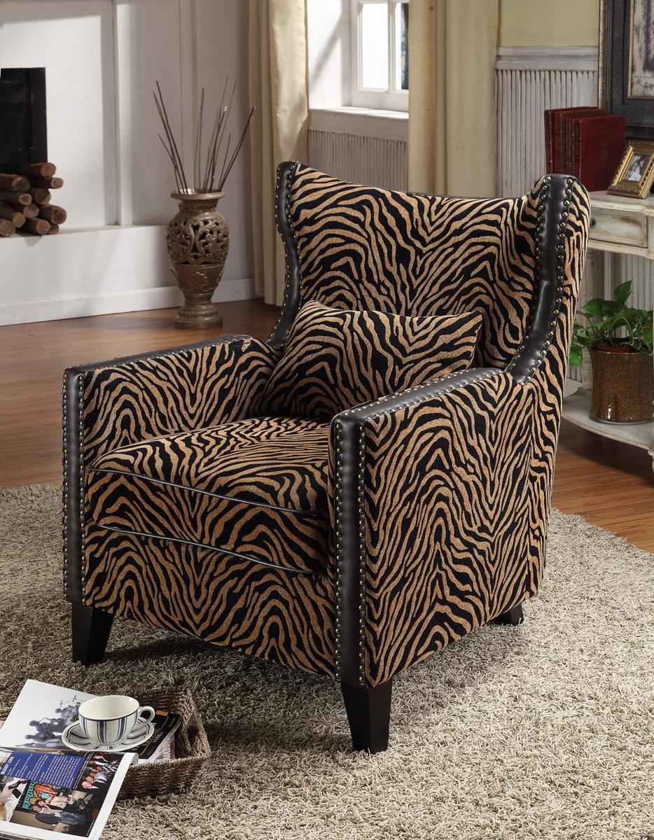 Armen Living Nail Head Accent Club Chair - Tiger Chenille