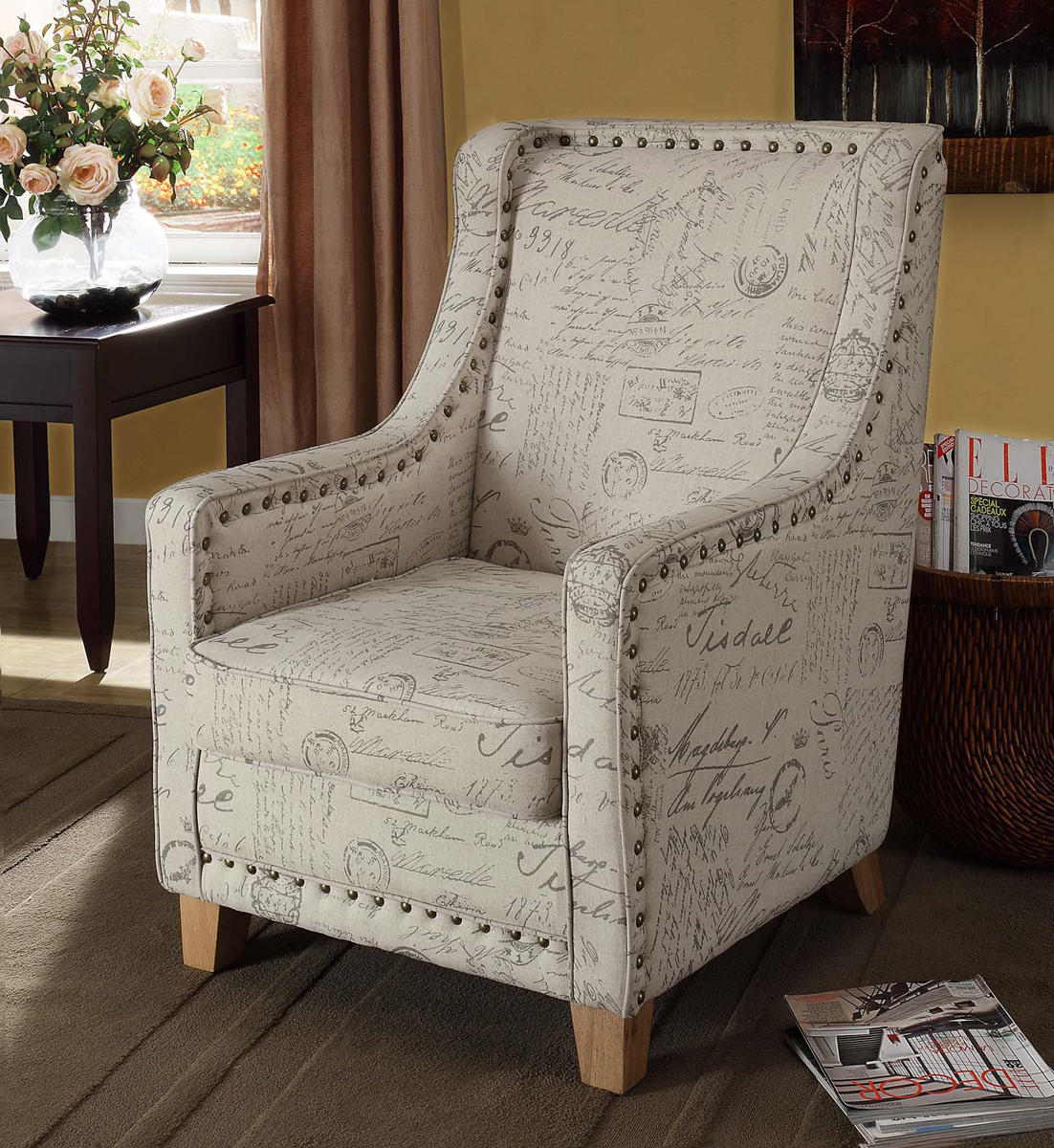 Armen Living Edmond Chair - Printed Vintage French Fabric