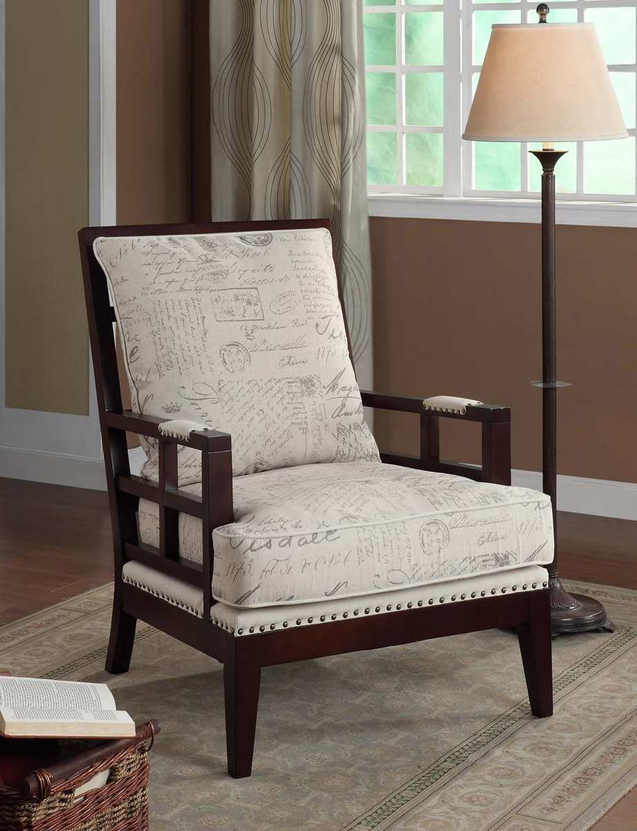 Armen Living Windsor Chair - Printed Vintage French Fabric