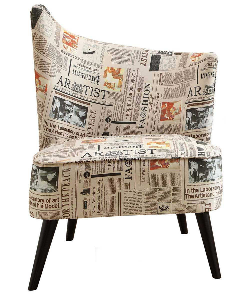 Armen Living Elegant Accent Chair - Newspaper Fabric