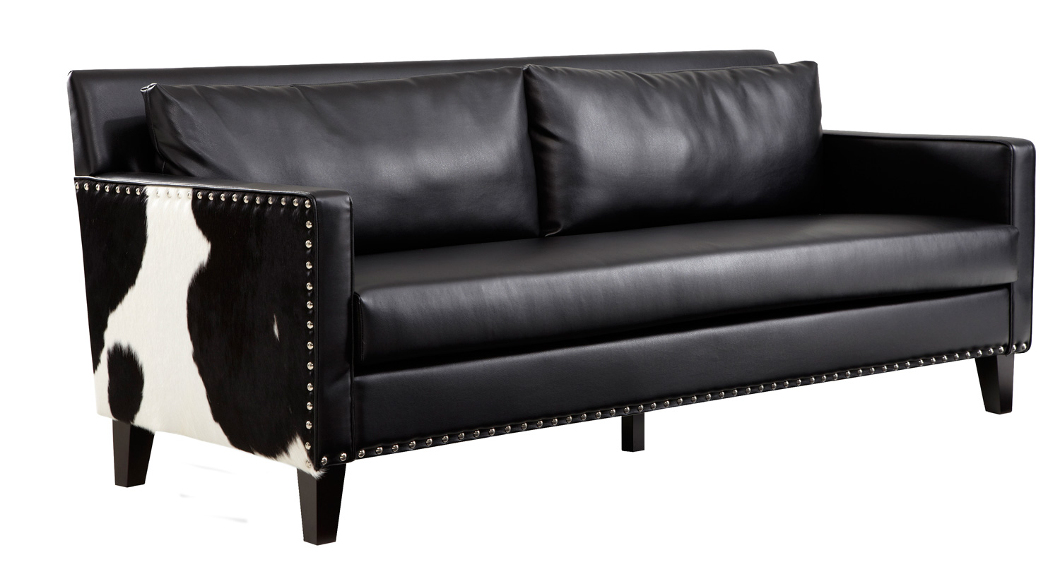 Armen Living Dallas Sofa   Black Leather/Real Cowhide Side Panels