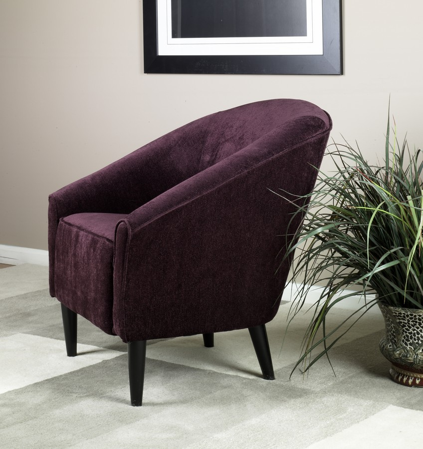 Armen Living Orion Club Chair - Eggplant Chenille