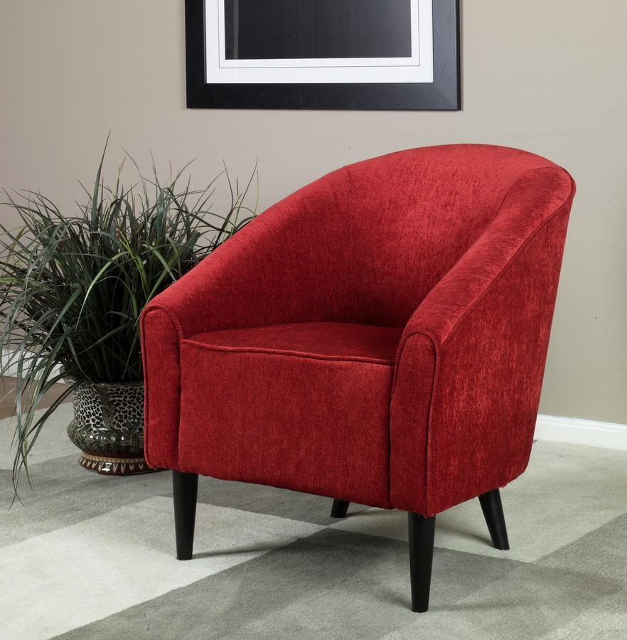 Armen Living Orion Club Chair - Red Chenille