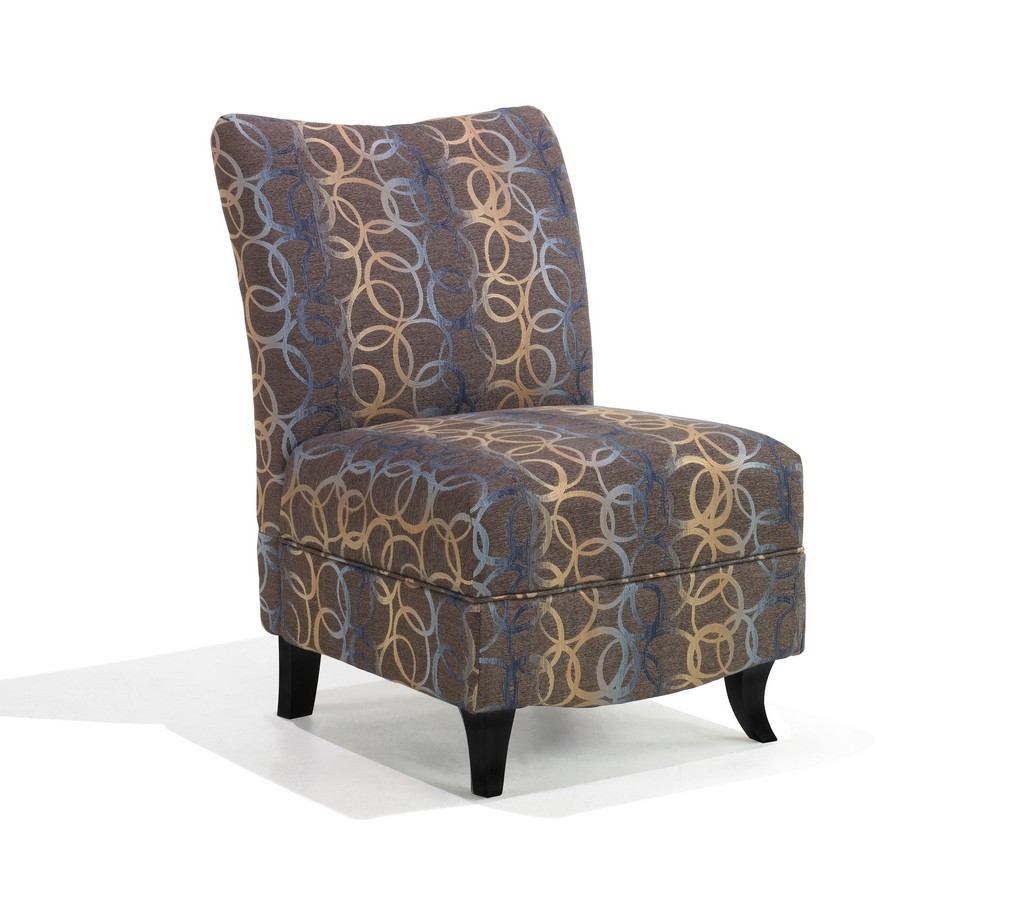 Armen Living Malibu Armless Club Chair - Brown - Blue Swirl Fabric