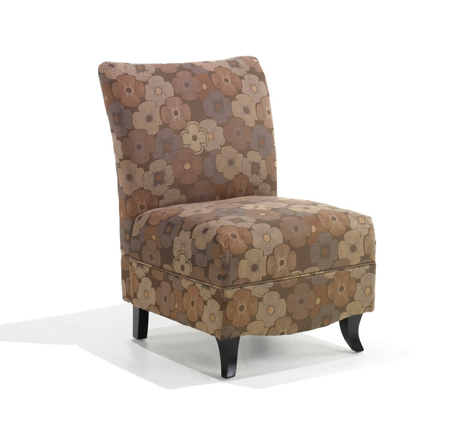 Armen Living Malibu Armless Club Chair - Brown Floral Fabric