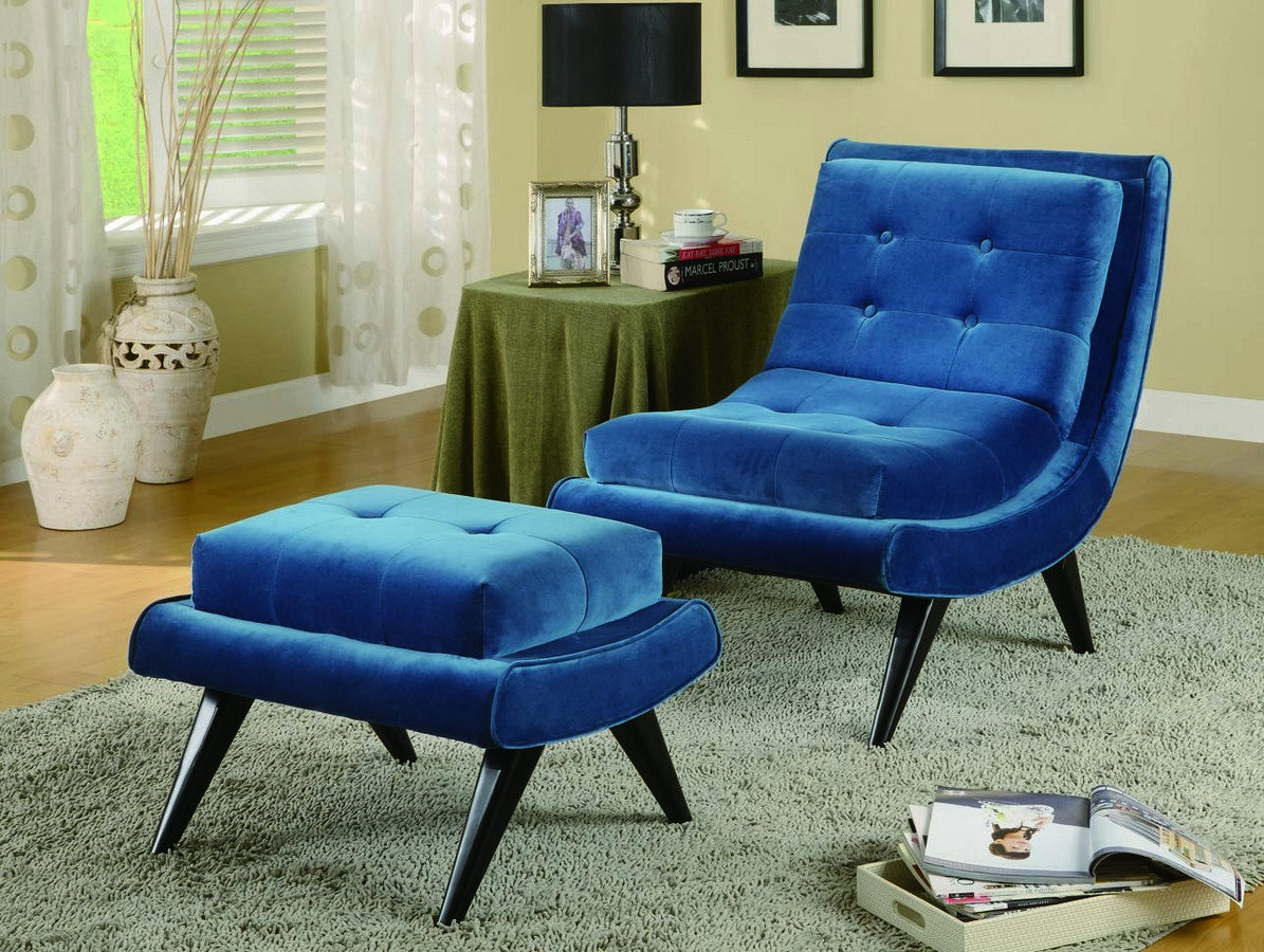 Armen Living 5th Avenue Armless Swayback Lounge Chair - Cerulean Blue Fabric