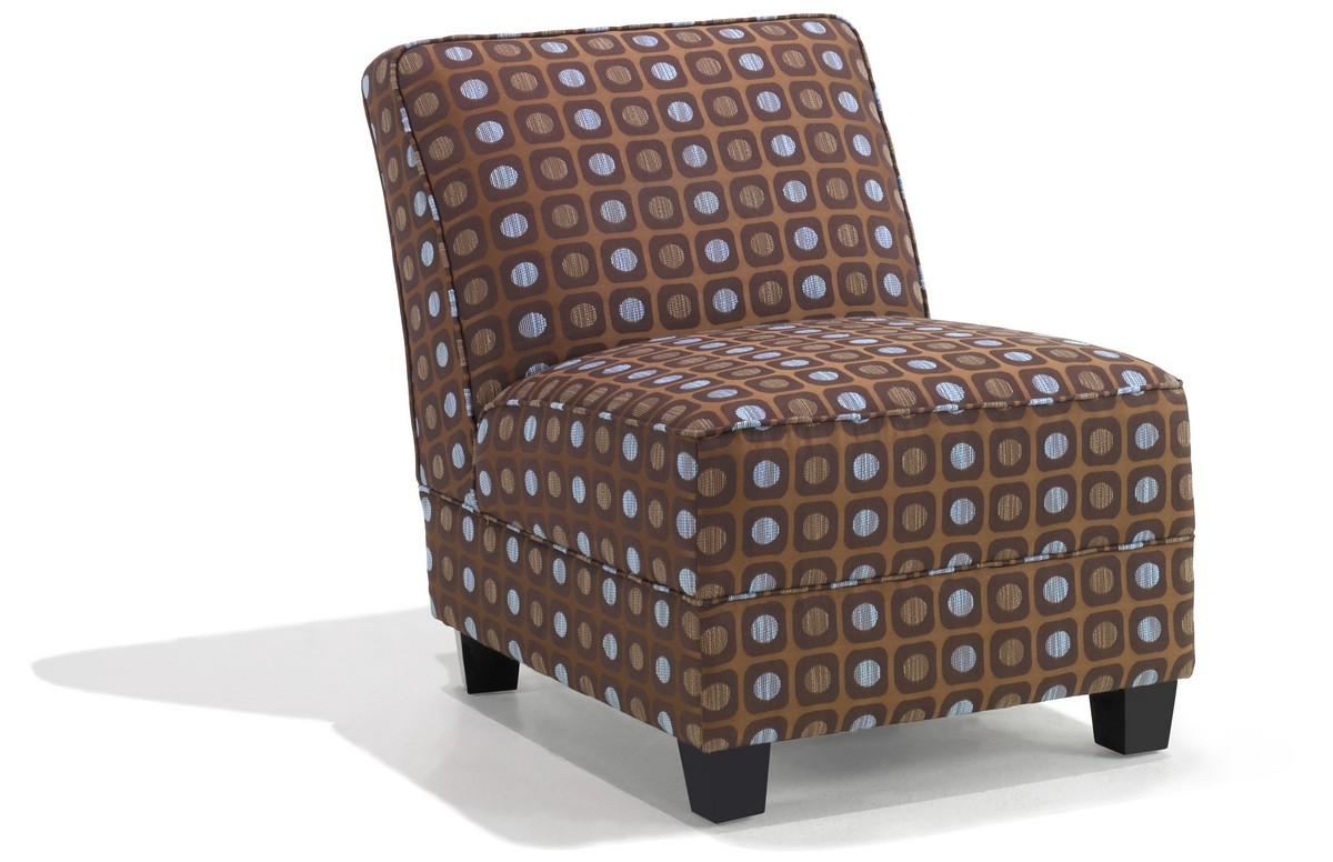 Armen Living Canyon Armless Brown Pattern Fabric Club Chair