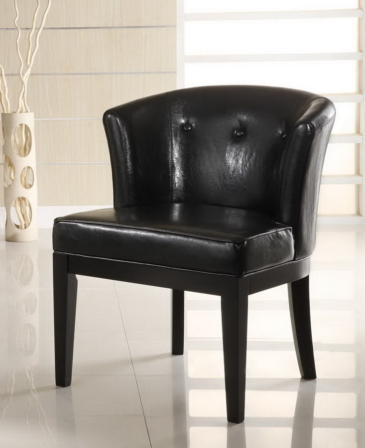Armen Living Ovation Tufted Midnight Black Leather Stationary Club Chair - Ebony Wood Finished Legs